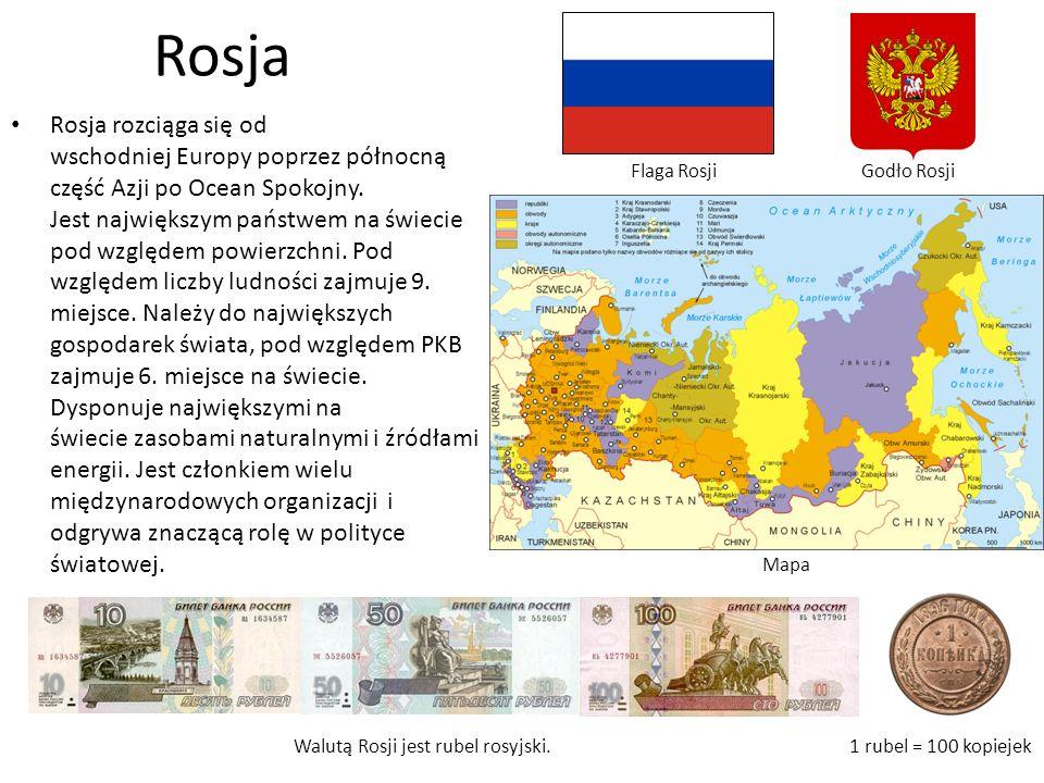 Rosja rozciąga się od wschodniej Europy poprzez północną część Azji po Ocean Spokojny.