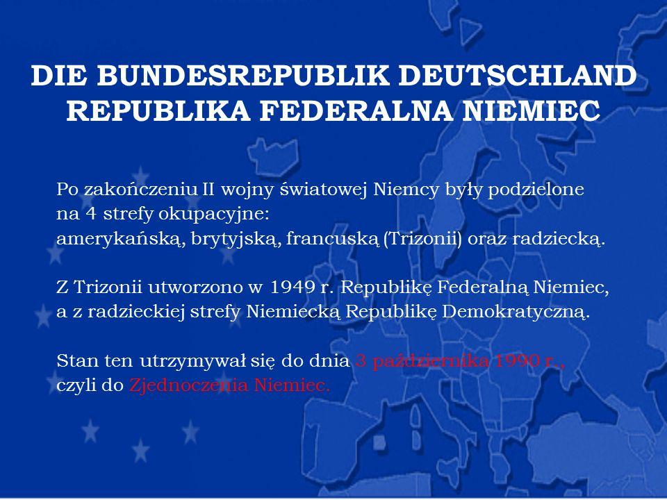 DIE BUNDESREPUBLIK DEUTSCHLAND REPUBLIKA FEDERALNA NIEMIEC Po zakończeniu II wojny światowej Niemcy były podzielone na 4 strefy okupacyjne: amerykańsk