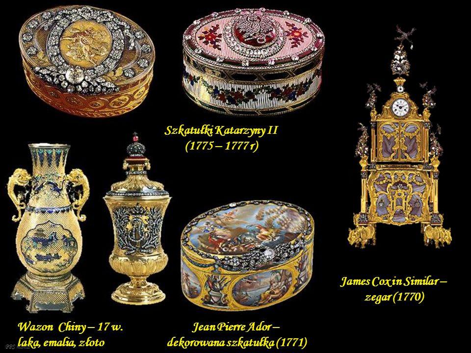 PPS mania Złota filiżanka – filigran 1775 r. Złota solniczka – 1795 r. Zegarek (1770) r. Szkło i porcelana – manufaktury rosyjskie XVIII w.