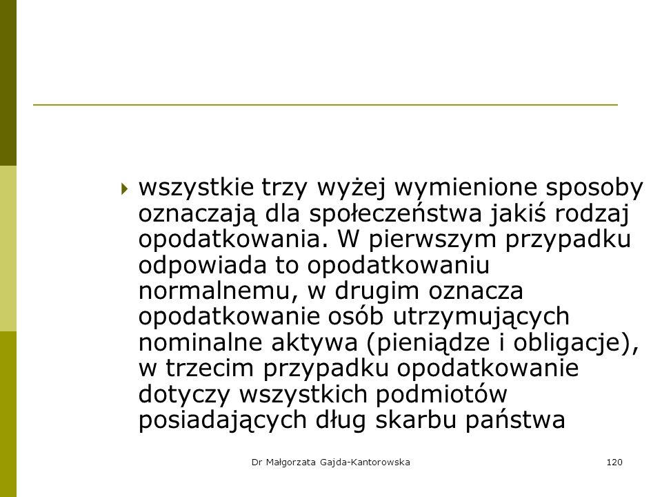Dr Małgorzata Gajda-Kantorowska120  wszystkie trzy wyżej wymienione sposoby oznaczają dla społeczeństwa jakiś rodzaj opodatkowania.