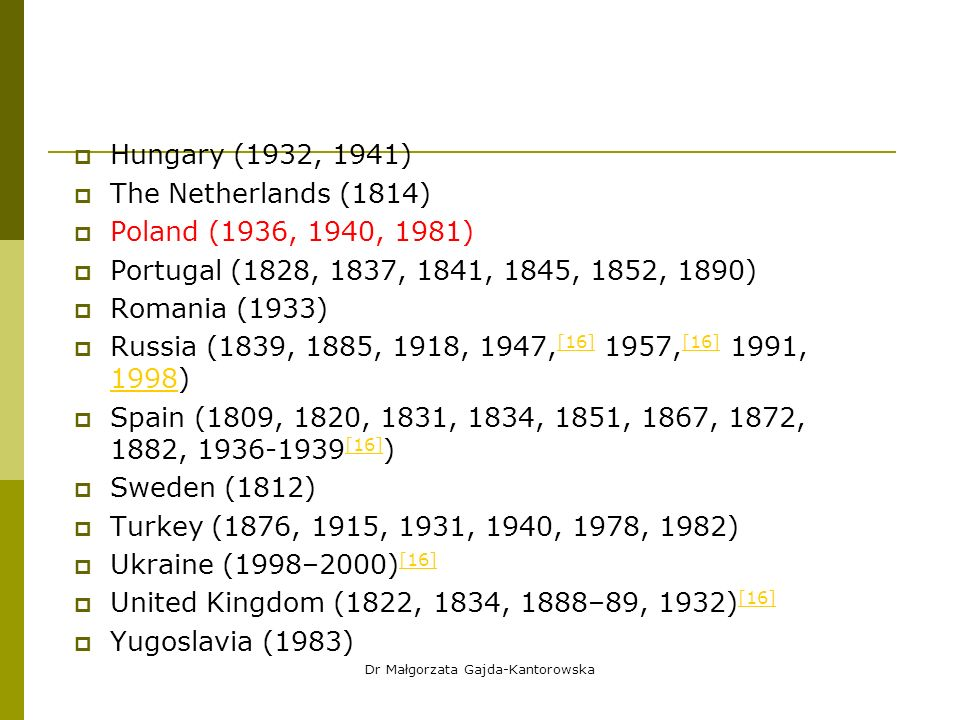  Hungary (1932, 1941)  The Netherlands (1814)  Poland (1936, 1940, 1981)  Portugal (1828, 1837, 1841, 1845, 1852, 1890)  Romania (1933)  Russia (1839, 1885, 1918, 1947, [16] 1957, [16] 1991, 1998) [16] 1998  Spain (1809, 1820, 1831, 1834, 1851, 1867, 1872, 1882, 1936-1939 [16] ) [16]  Sweden (1812)  Turkey (1876, 1915, 1931, 1940, 1978, 1982)  Ukraine (1998–2000) [16] [16]  United Kingdom (1822, 1834, 1888–89, 1932) [16] [16]  Yugoslavia (1983) Dr Małgorzata Gajda-Kantorowska
