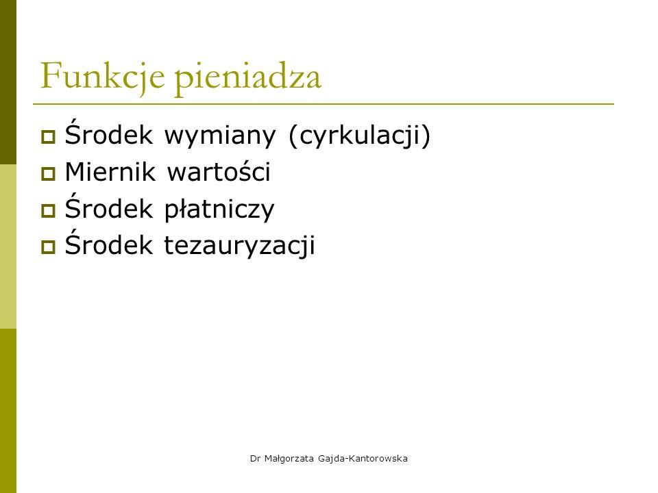 Funkcje pieniadza  Środek wymiany (cyrkulacji)  Miernik wartości  Środek płatniczy  Środek tezauryzacji Dr Małgorzata Gajda-Kantorowska