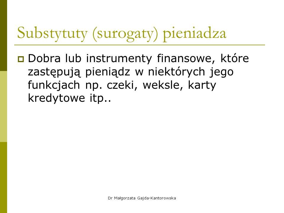 Substytuty (surogaty) pieniadza  Dobra lub instrumenty finansowe, które zastępują pieniądz w niektórych jego funkcjach np.