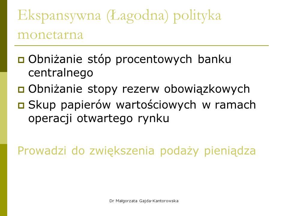 Ekspansywna (Łagodna) polityka monetarna  Obniżanie stóp procentowych banku centralnego  Obniżanie stopy rezerw obowiązkowych  Skup papierów wartościowych w ramach operacji otwartego rynku Prowadzi do zwiększenia podaży pieniądza Dr Małgorzata Gajda-Kantorowska