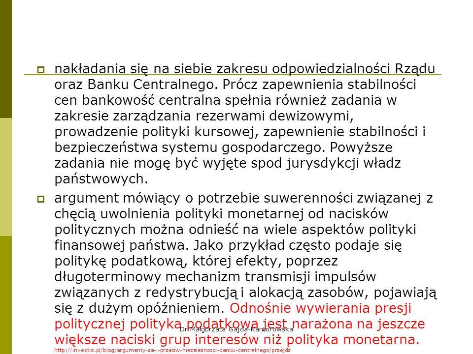  nakładania się na siebie zakresu odpowiedzialności Rządu oraz Banku Centralnego.