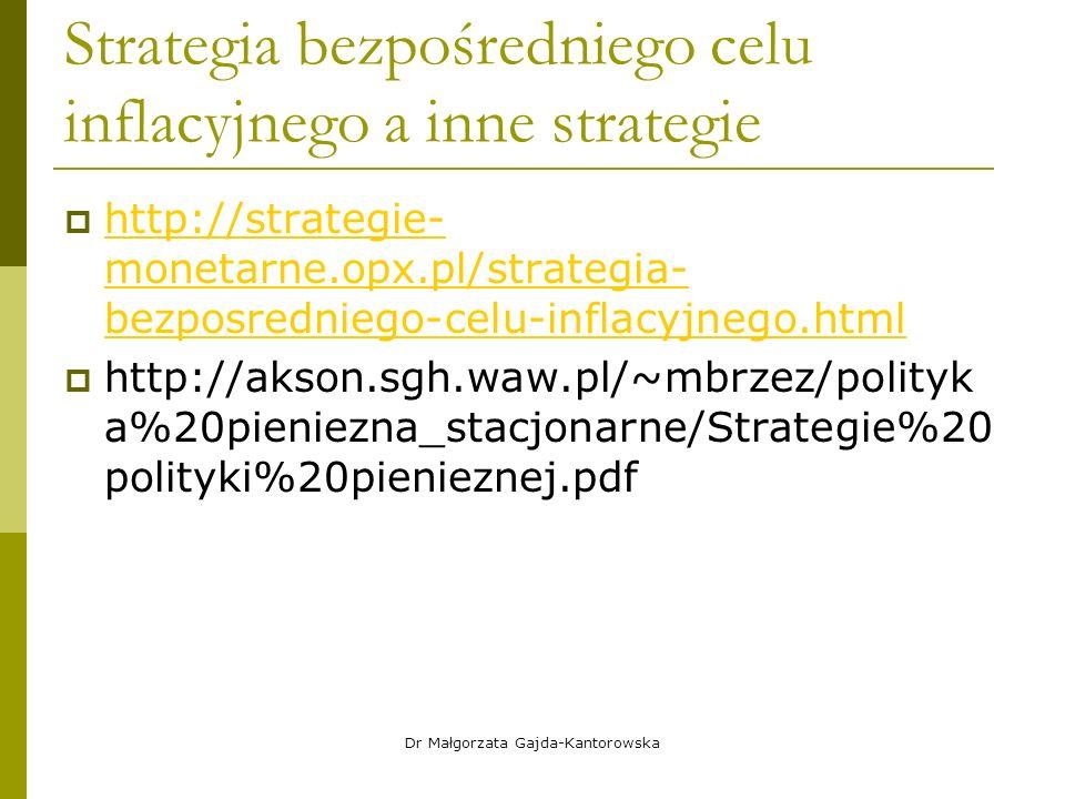 Strategia bezpośredniego celu inflacyjnego a inne strategie  http://strategie- monetarne.opx.pl/strategia- bezposredniego-celu-inflacyjnego.html http://strategie- monetarne.opx.pl/strategia- bezposredniego-celu-inflacyjnego.html  http://akson.sgh.waw.pl/~mbrzez/polityk a%20pieniezna_stacjonarne/Strategie%20 polityki%20pienieznej.pdf Dr Małgorzata Gajda-Kantorowska