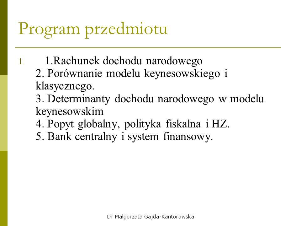 Program przedmiotu 1. 1.Rachunek dochodu narodowego 2.