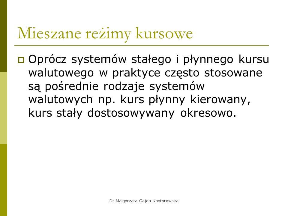 Mieszane reżimy kursowe  Oprócz systemów stałego i płynnego kursu walutowego w praktyce często stosowane są pośrednie rodzaje systemów walutowych np.