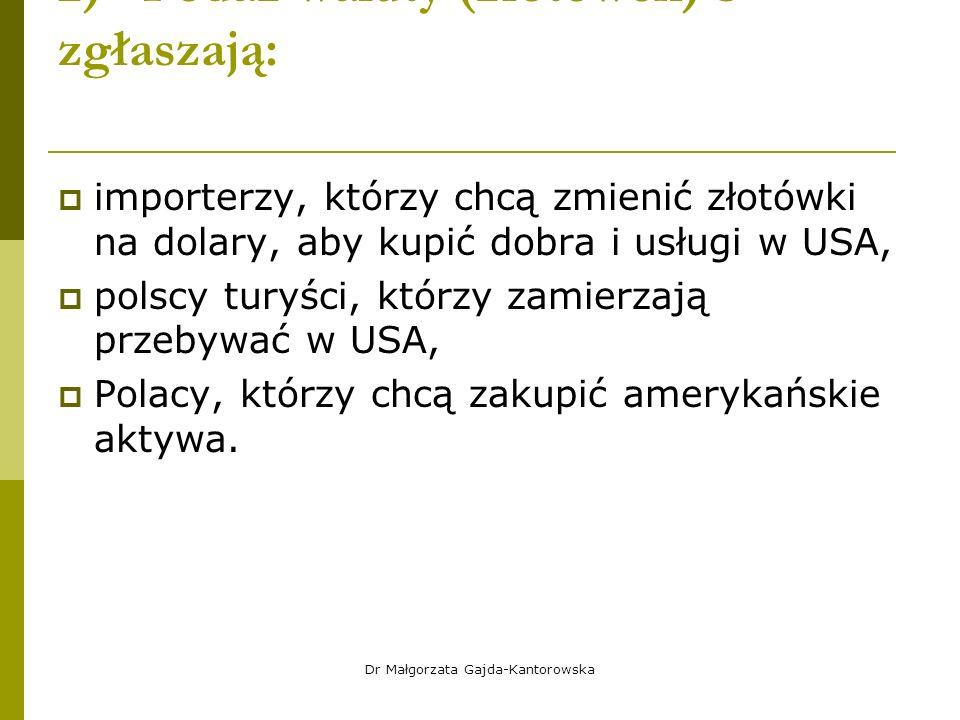 2) Podaż waluty (złotówek) S – zgłaszają:  importerzy, którzy chcą zmienić złotówki na dolary, aby kupić dobra i usługi w USA,  polscy turyści, którzy zamierzają przebywać w USA,  Polacy, którzy chcą zakupić amerykańskie aktywa.