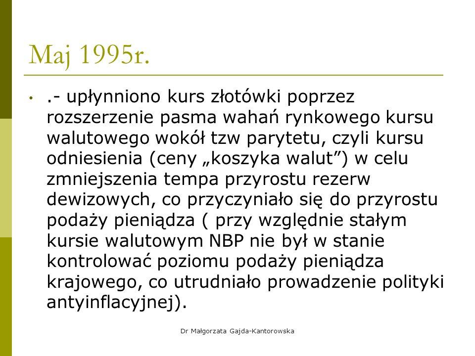 """Maj 1995r..- upłynniono kurs złotówki poprzez rozszerzenie pasma wahań rynkowego kursu walutowego wokół tzw parytetu, czyli kursu odniesienia (ceny """"koszyka walut ) w celu zmniejszenia tempa przyrostu rezerw dewizowych, co przyczyniało się do przyrostu podaży pieniądza ( przy względnie stałym kursie walutowym NBP nie był w stanie kontrolować poziomu podaży pieniądza krajowego, co utrudniało prowadzenie polityki antyinflacyjnej)."""