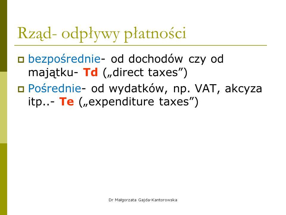 """Rząd- odpływy płatności  bezpośrednie- od dochodów czy od majątku- Td (""""direct taxes )  Pośrednie- od wydatków, np."""