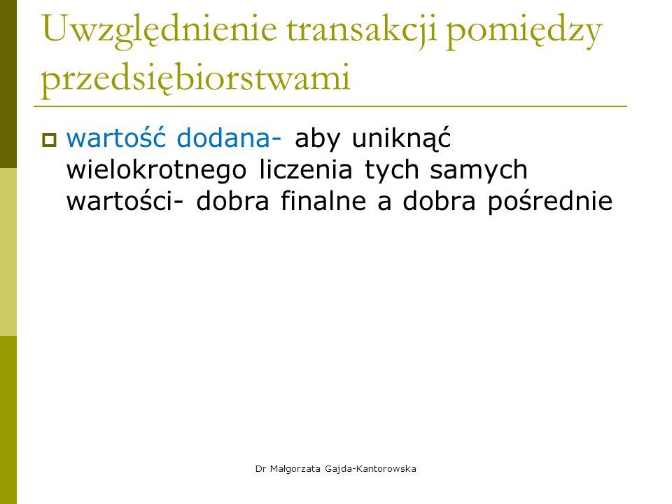 Uwzględnienie transakcji pomiędzy przedsiębiorstwami  wartość dodana- aby uniknąć wielokrotnego liczenia tych samych wartości- dobra finalne a dobra pośrednie Dr Małgorzata Gajda-Kantorowska