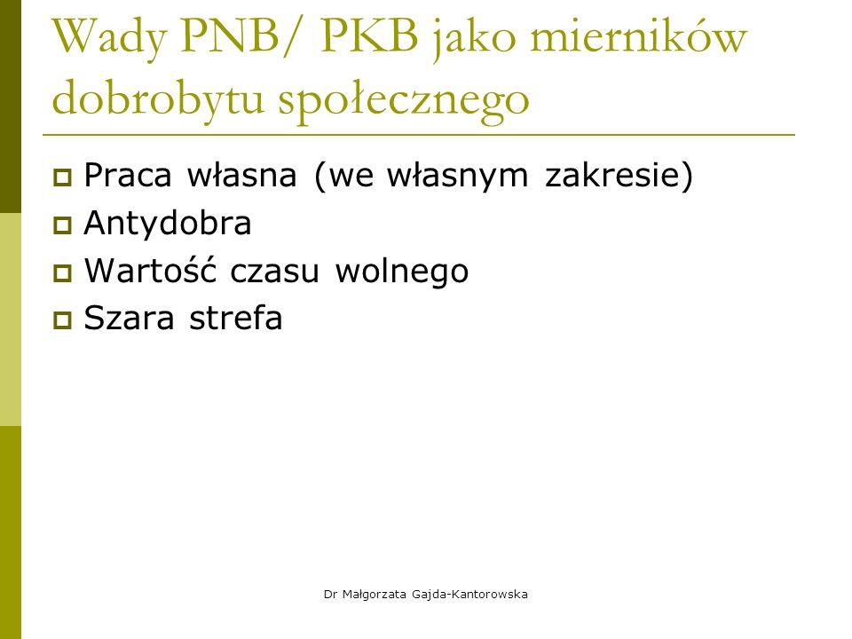 Wady PNB/ PKB jako mierników dobrobytu społecznego  Praca własna (we własnym zakresie)  Antydobra  Wartość czasu wolnego  Szara strefa Dr Małgorzata Gajda-Kantorowska