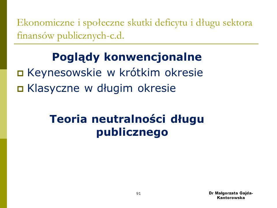 Ekonomiczne i społeczne skutki deficytu i długu sektora finansów publicznych-c.d.