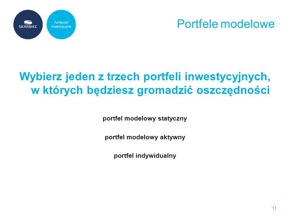 Portfele modelowe Wybierz jeden z trzech portfeli inwestycyjnych, w których będziesz gromadzić oszczędności portfel modelowy statyczny portfel modelowy aktywny portfel indywidualny 11