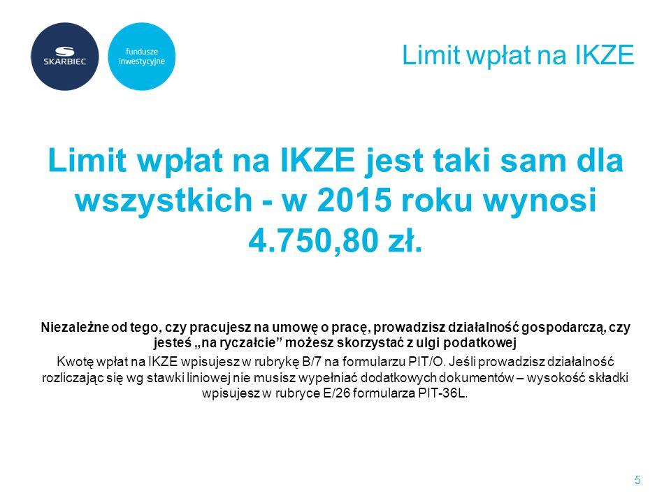 Oszczędź jeszcze więcej zakładając IKE Limit wpłat jest jeszcze wyższy - w 2015 roku wynosi 11.877,00 zł Jednak to ty decydujesz, jak często i ile środków odkładasz na emeryturę w IKE możesz wpłacić cały roczny limit za jednym razem, rozbić limit na regularne miesięczne wpłaty lub dokonywać ich w dowolnym momencie.