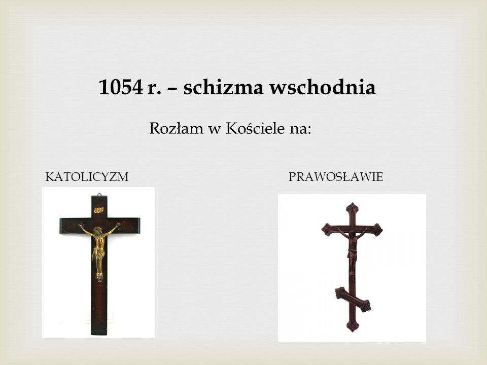 1054 r. – schizma wschodnia Rozłam w Kościele na: KATOLICYZMPRAWOSŁAWIE