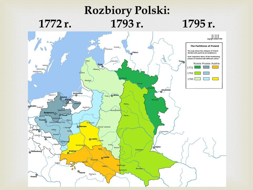 Rozbiory Polski: 1772 r. 1793 r. 1795 r.