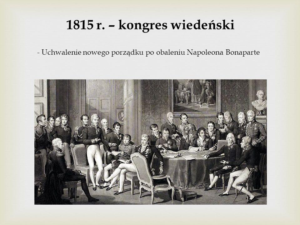1815 r. – kongres wiedeński - Uchwalenie nowego porządku po obaleniu Napoleona Bonaparte