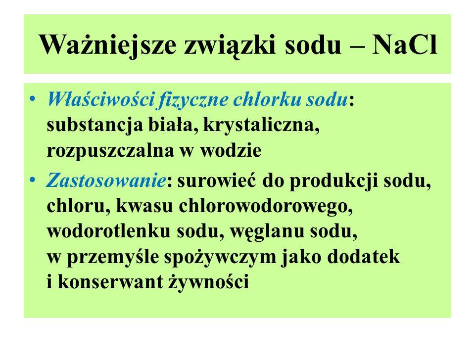 Ważniejsze związki sodu – NaCl Właściwości fizyczne chlorku sodu: substancja biała, krystaliczna, rozpuszczalna w wodzie Zastosowanie: surowieć do pro