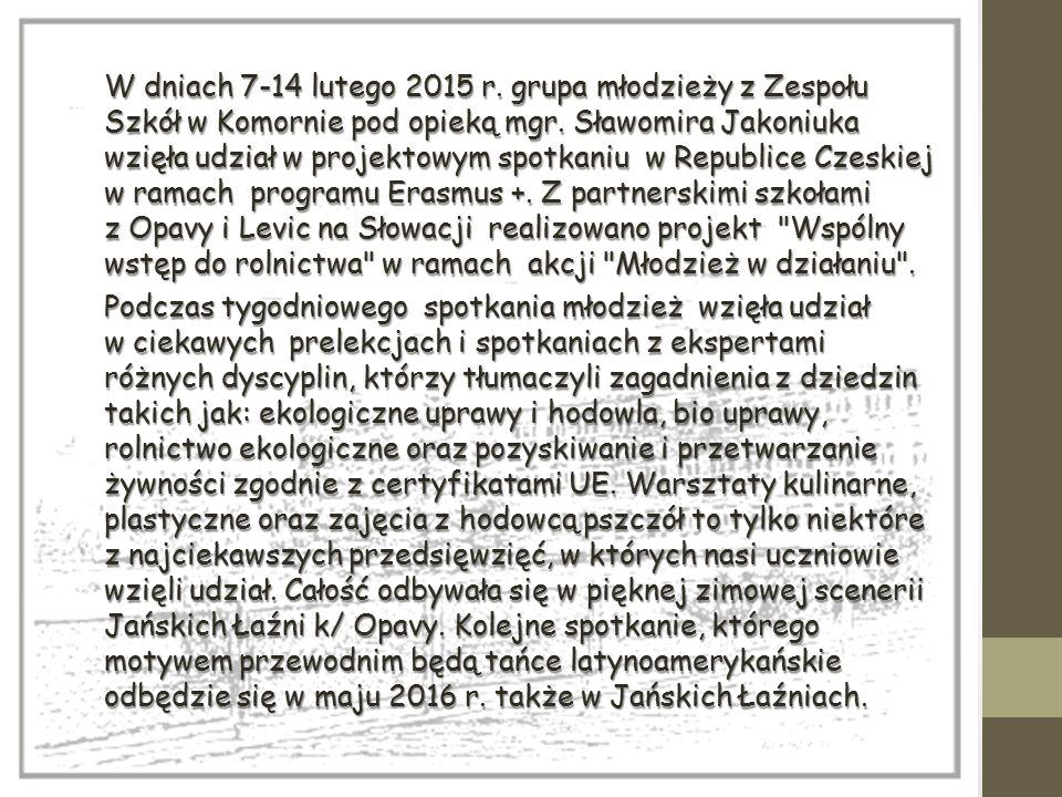 W dniach 7-14 lutego 2015 r. grupa młodzieży z Zespołu Szkół w Komornie pod opieką mgr. Sławomira Jakoniuka wzięła udział w projektowym spotkaniu w Re