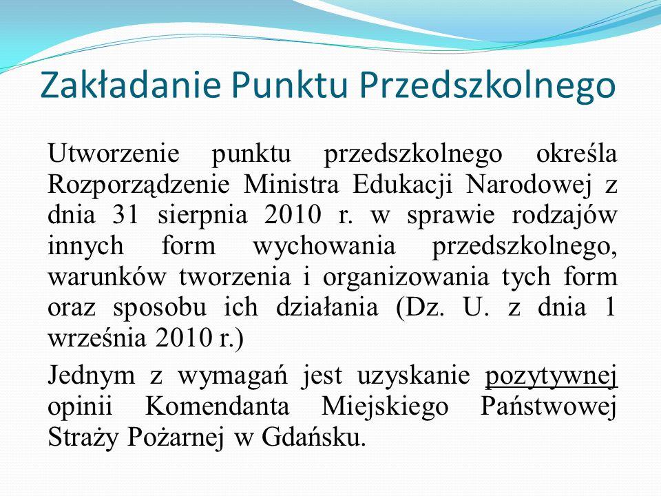 Zakładanie Punktu Przedszkolnego Utworzenie punktu przedszkolnego określa Rozporządzenie Ministra Edukacji Narodowej z dnia 31 sierpnia 2010 r. w spra