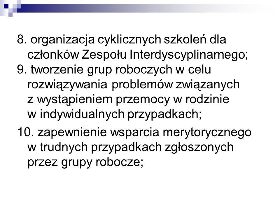 8. organizacja cyklicznych szkoleń dla członków Zespołu Interdyscyplinarnego; 9. tworzenie grup roboczych w celu rozwiązywania problemów związanych z