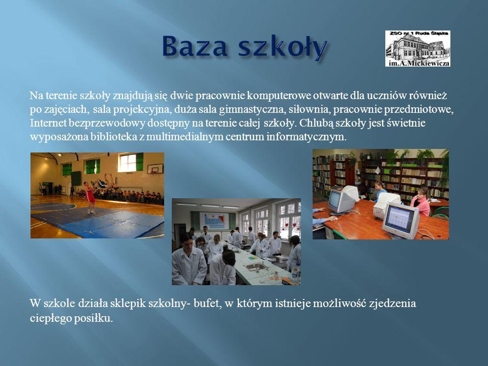 Na terenie szkoły znajdują się dwie pracownie komputerowe otwarte dla uczniów również po zajęciach, sala projekcyjna, duża sala gimnastyczna, siłownia, pracownie przedmiotowe, Internet bezprzewodowy dostępny na terenie całej szkoły.