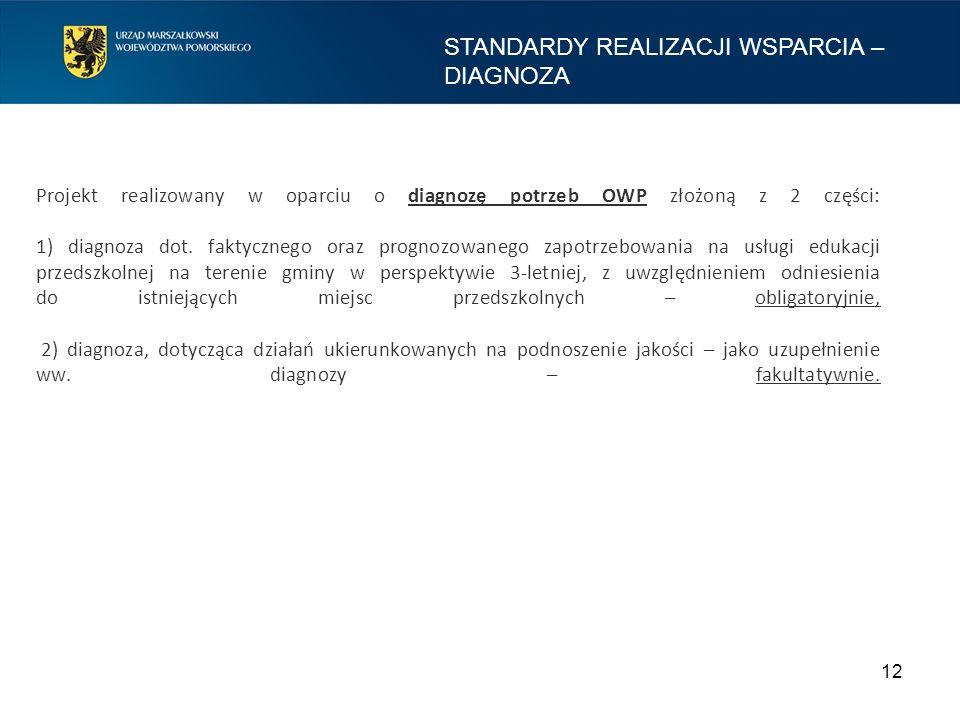 Projekt realizowany w oparciu o diagnozę potrzeb OWP złożoną z 2 części: 1) diagnoza dot.