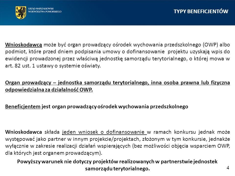 TYPY BENEFICJENTÓW Wnioskodawcą może być organ prowadzący ośrodek wychowania przedszkolnego (OWP) albo podmiot, które przed dniem podpisania umowy o dofinansowanie projektu uzyskają wpis do ewidencji prowadzonej przez właściwą jednostkę samorządu terytorialnego, o której mowa w art.