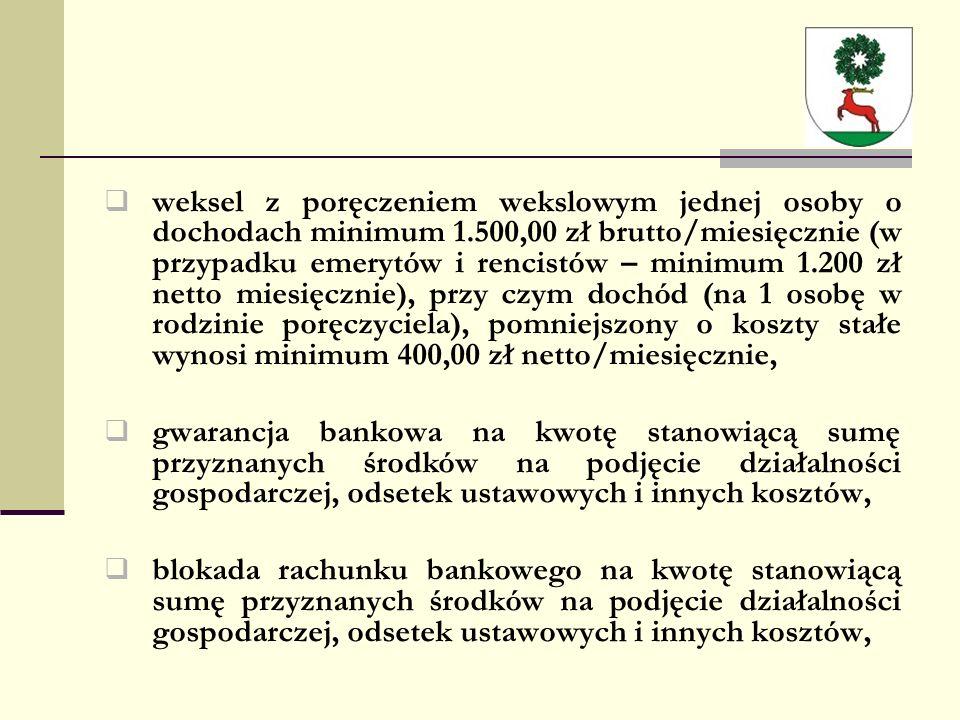  weksel z poręczeniem wekslowym jednej osoby o dochodach minimum 1.500,00 zł brutto/miesięcznie (w przypadku emerytów i rencistów – minimum 1.200 zł netto miesięcznie), przy czym dochód (na 1 osobę w rodzinie poręczyciela), pomniejszony o koszty stałe wynosi minimum 400,00 zł netto/miesięcznie,  gwarancja bankowa na kwotę stanowiącą sumę przyznanych środków na podjęcie działalności gospodarczej, odsetek ustawowych i innych kosztów,  blokada rachunku bankowego na kwotę stanowiącą sumę przyznanych środków na podjęcie działalności gospodarczej, odsetek ustawowych i innych kosztów,