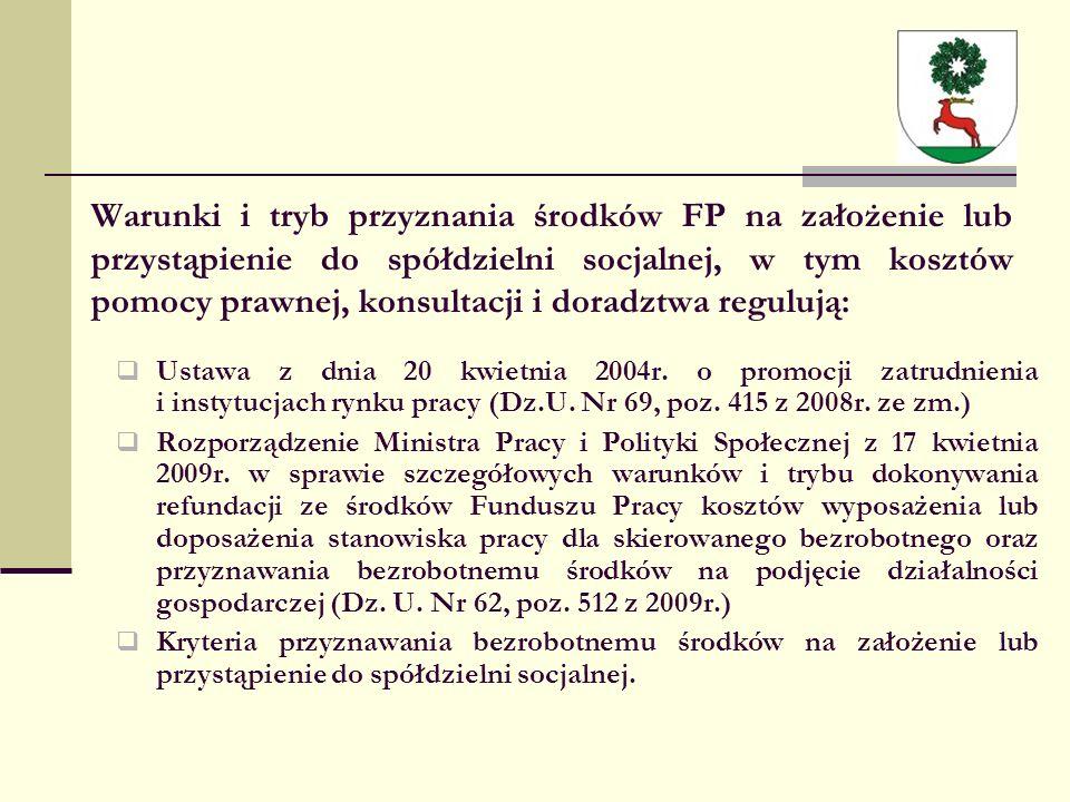 Warunki i tryb przyznania środków FP na założenie lub przystąpienie do spółdzielni socjalnej, w tym kosztów pomocy prawnej, konsultacji i doradztwa regulują:  Ustawa z dnia 20 kwietnia 2004r.