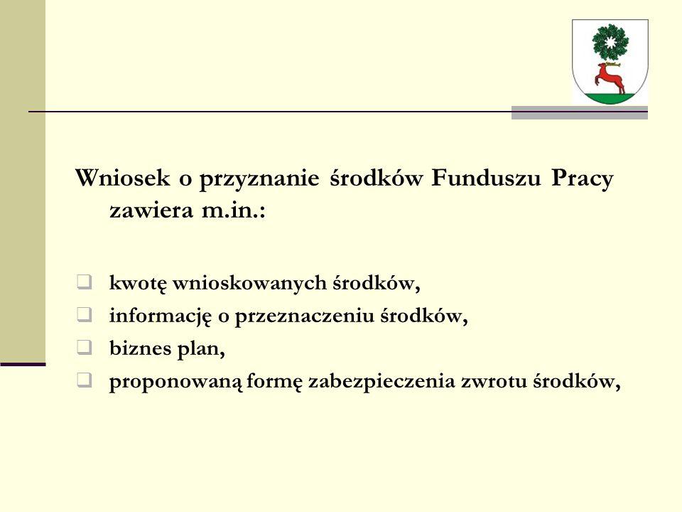 Wniosek o przyznanie środków Funduszu Pracy zawiera m.in.:  kwotę wnioskowanych środków,  informację o przeznaczeniu środków,  biznes plan,  proponowaną formę zabezpieczenia zwrotu środków,