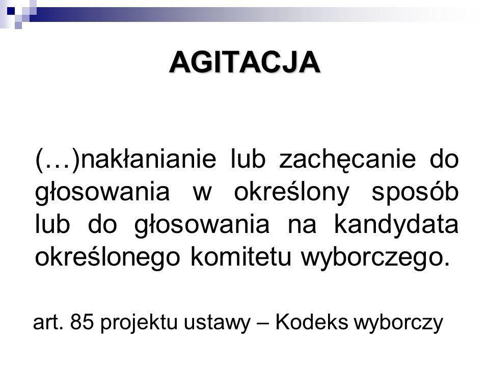 AGITACJA (…)nakłanianie lub zachęcanie do głosowania w określony sposób lub do głosowania na kandydata określonego komitetu wyborczego.