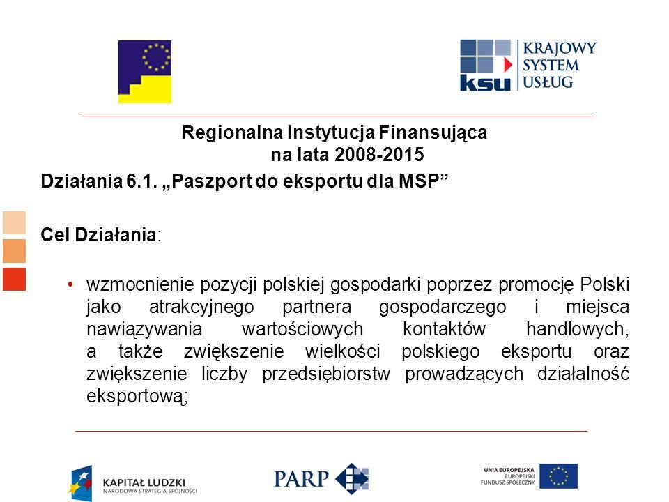 Regionalna Instytucja Finansująca na lata 2008-2015 Działania 6.1.