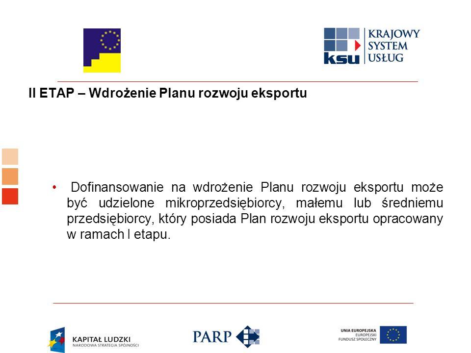 II ETAP – Wdrożenie Planu rozwoju eksportu Dofinansowanie na wdrożenie Planu rozwoju eksportu może być udzielone mikroprzedsiębiorcy, małemu lub średniemu przedsiębiorcy, który posiada Plan rozwoju eksportu opracowany w ramach I etapu.