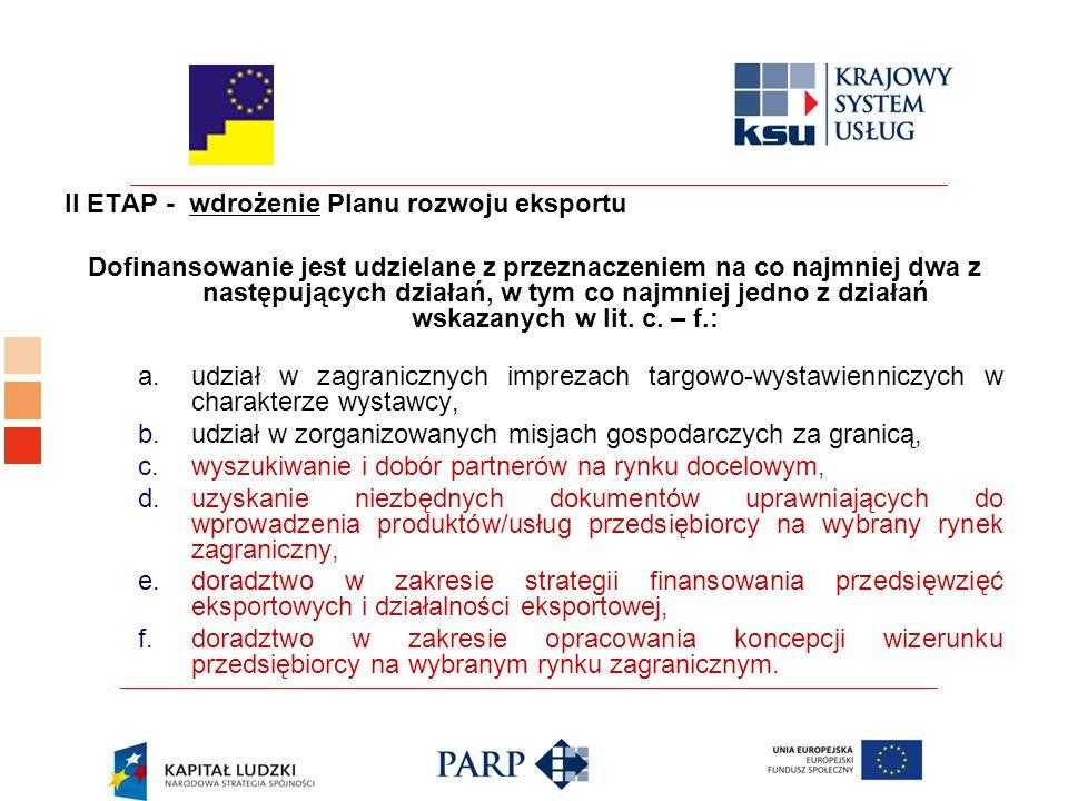 II ETAP - wdrożenie Planu rozwoju eksportu Dofinansowanie jest udzielane z przeznaczeniem na co najmniej dwa z następujących działań, w tym co najmniej jedno z działań wskazanych w lit.