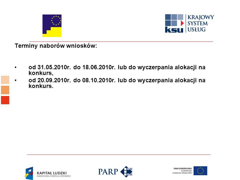 Terminy naborów wniosków: od 31.05.2010r. do 18.06.2010r.