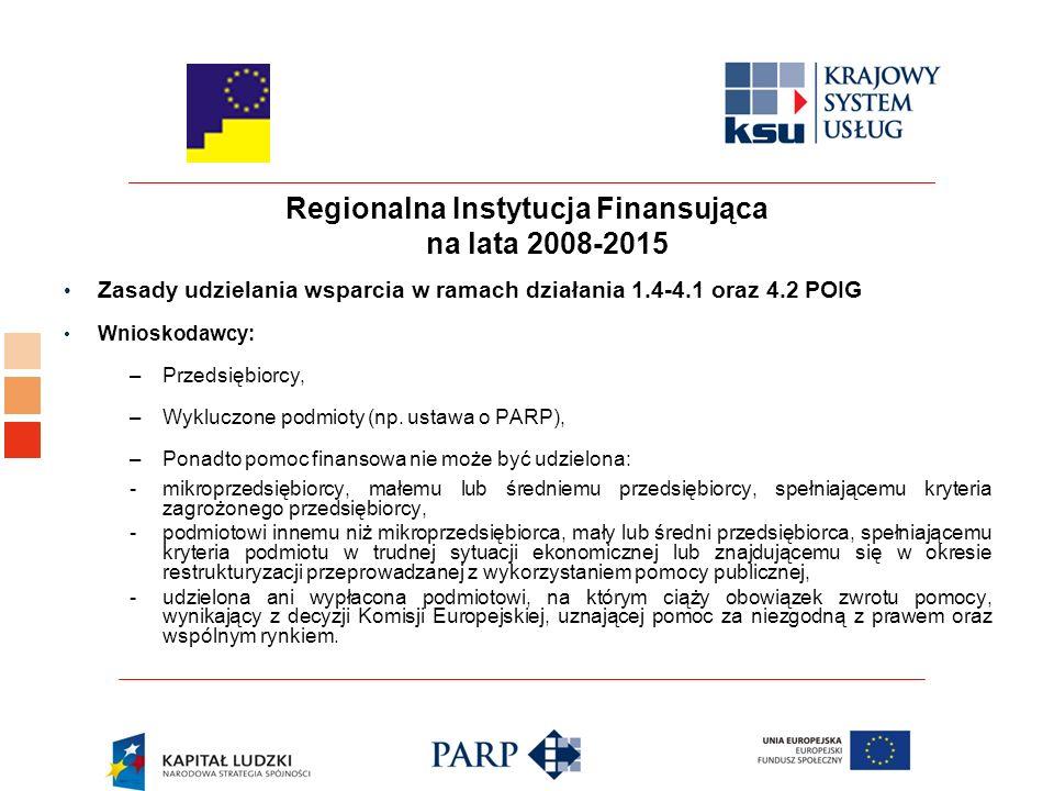 Regionalna Instytucja Finansująca na lata 2008-2015 Zasady udzielania wsparcia w ramach działania 1.4-4.1 oraz 4.2 POIG Wnioskodawcy: –Przedsiębiorcy, –Wykluczone podmioty (np.