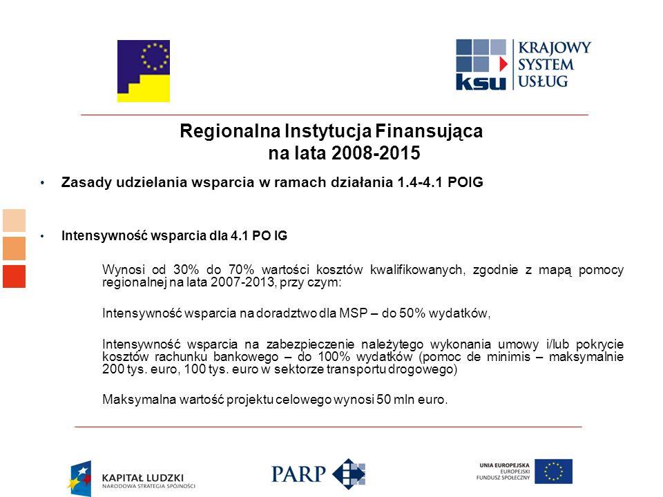 Regionalna Instytucja Finansująca na lata 2008-2015 Zasady udzielania wsparcia w ramach działania 1.4-4.1 POIG Intensywność wsparcia dla 4.1 PO IG Wynosi od 30% do 70% wartości kosztów kwalifikowanych, zgodnie z mapą pomocy regionalnej na lata 2007-2013, przy czym: Intensywność wsparcia na doradztwo dla MSP – do 50% wydatków, Intensywność wsparcia na zabezpieczenie należytego wykonania umowy i/lub pokrycie kosztów rachunku bankowego – do 100% wydatków (pomoc de minimis – maksymalnie 200 tys.