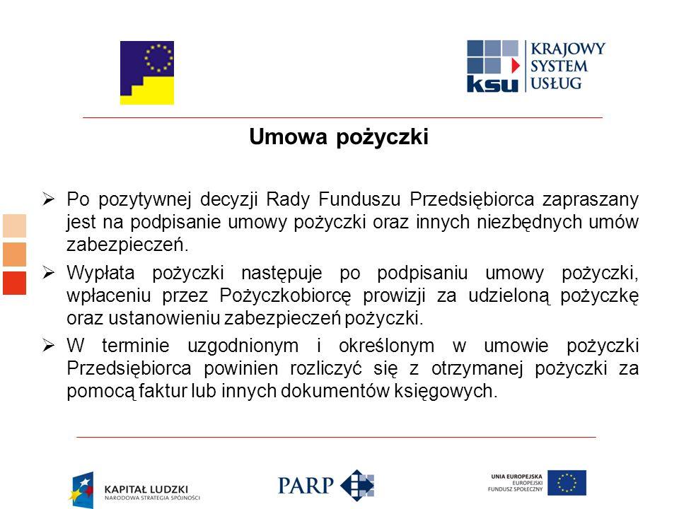 Umowa pożyczki  Po pozytywnej decyzji Rady Funduszu Przedsiębiorca zapraszany jest na podpisanie umowy pożyczki oraz innych niezbędnych umów zabezpieczeń.