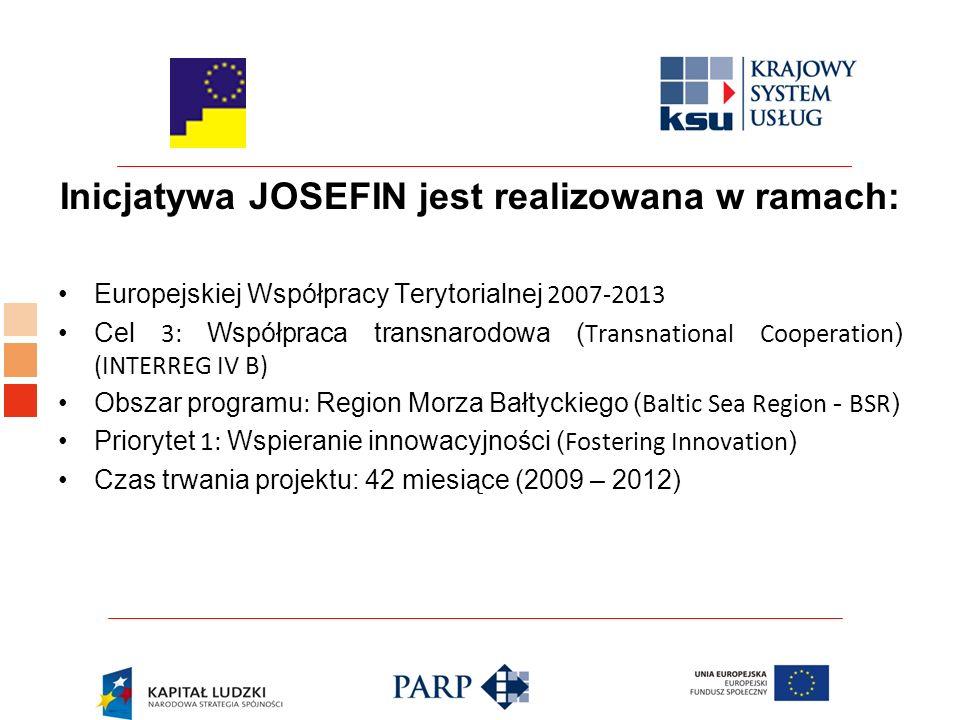 Inicjatywa JOSEFIN jest realizowana w ramach: Europejskiej Współpracy Terytorialnej 2007-2013 Cel 3: Współpraca transnarodowa ( Transnational Cooperation ) (INTERREG IV B) Obszar programu : Region Morza Bałtyckiego ( Baltic Sea Region - BSR ) Priorytet 1: Wspieranie innowacyjności ( Fostering Innovation ) Czas trwania projektu: 42 miesiące (2009 – 2012)