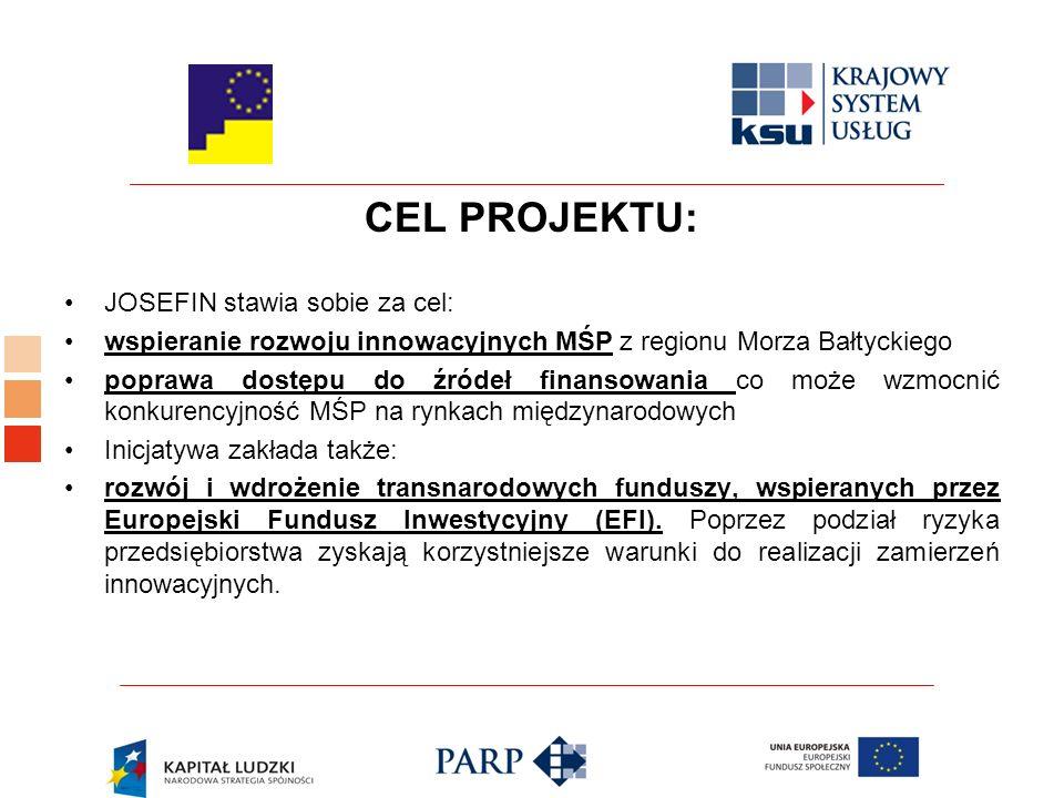 CEL PROJEKTU: JOSEFIN stawia sobie za cel: wspieranie rozwoju innowacyjnych MŚP z regionu Morza Bałtyckiego poprawa dostępu do źródeł finansowania co może wzmocnić konkurencyjność MŚP na rynkach międzynarodowych Inicjatywa zakłada także: rozwój i wdrożenie transnarodowych funduszy, wspieranych przez Europejski Fundusz Inwestycyjny (EFI).