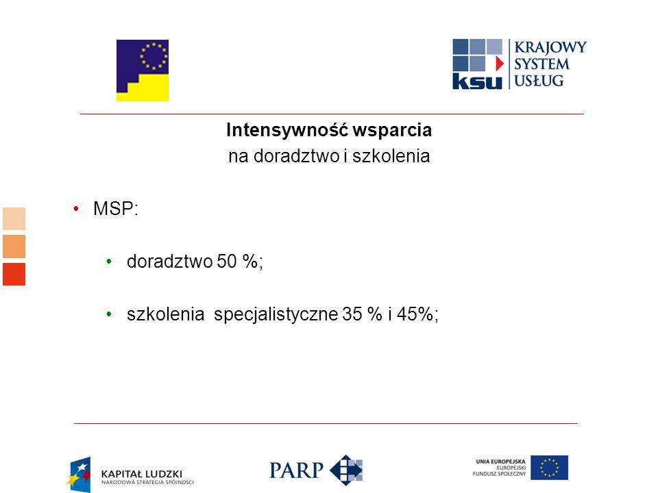 Intensywność wsparcia na doradztwo i szkolenia MSP: doradztwo 50 %; szkolenia specjalistyczne 35 % i 45%;