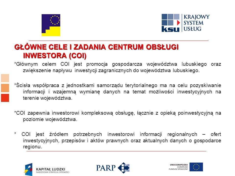 GŁÓWNE CELE I ZADANIA CENTRUM OBSŁUGI INWESTORA (COI) *Głównym celem COI jest promocja gospodarcza województwa lubuskiego oraz zwiększenie napływu inwestycji zagranicznych do województwa lubuskiego.