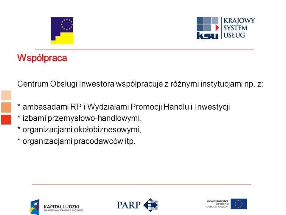 Współpraca Centrum Obsługi Inwestora współpracuje z różnymi instytucjami np.