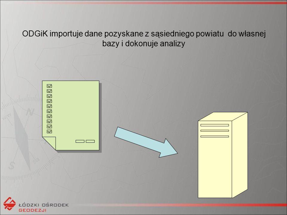 ODGiK importuje dane pozyskane z sąsiedniego powiatu do własnej bazy i dokonuje analizy