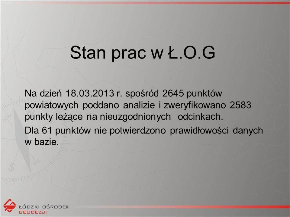 Stan prac w Ł.O.G Na dzień 18.03.2013 r.