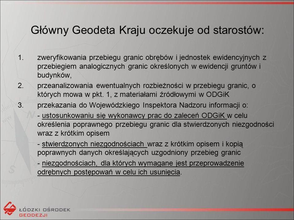 W ramach prac należy zwrócić szczególną uwagę na przeprowadzenie wyjaśnień/uzgodnień przez sąsiednie ODGiK dla niezgodności występujących na granicy powiatu.