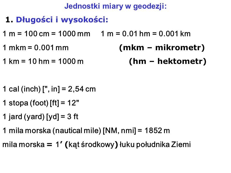 Jednostki miary w geodezji: 1.